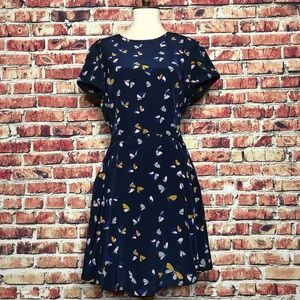 Zara Navy Butterfly Fit & Flare Chiffon Dress